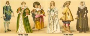 timeline of fashion 1600