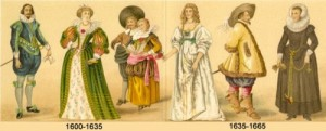 timeline of fashion 1600
